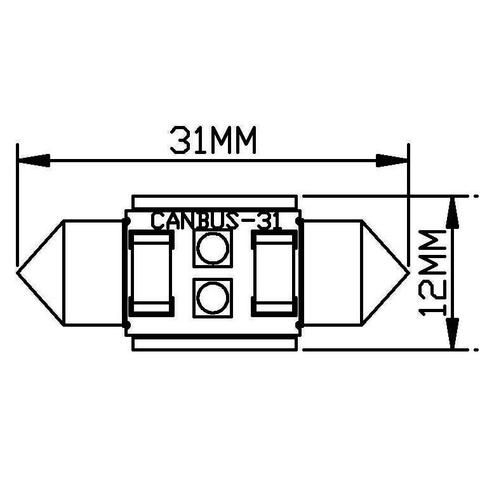 LED-лампа для салону автомобіля UP-SJ-N2-3030-31MM (білий, 12-14 В) Прев'ю 1
