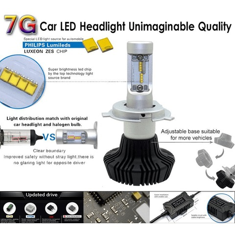 Car LED Headlamp Kit UP-7HL-H10W-4000Lm (H10, 4000 lm, cold white) Preview 2